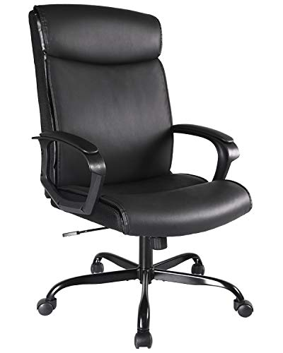 High Back Office Chair, Computer Chair Ergonomic Desk Chair PU Leather Executive Chair with Lumbar Back Support for Home Office Study, Black
