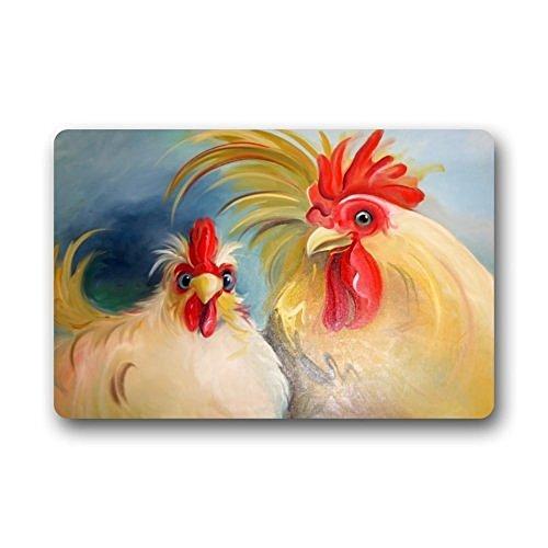 homelover (TM) Divertido felpudo para la entrada de pareja de gallo y gallina para puertas interiores y exteriores, para puerta principal. Felpudo de goma antideslizante. 60 cm x 40 cm