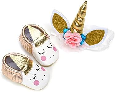 Zapatos de Niña con Diadema Regalo Set Unicornio Flor Suave Suela Zapatillas Antideslizantes Zapatos de Princesa (0-6 Meses, C, Tamaño de Etiqueta 11)