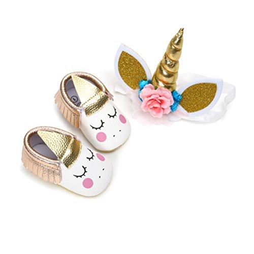 Zapatos de Niña con Diadema Regalo Set Unicornio Flor Suave Suela Zapatillas Antideslizantes Zapatos de Princesa (12-18 Meses, C, Tamaño de Etiqueta 13)