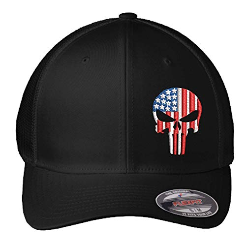 American Flag Punisher Hat | Custom Embroidered Punisher Skull FlexFit Hat | Military Skull Fitted Hat | FlexFit