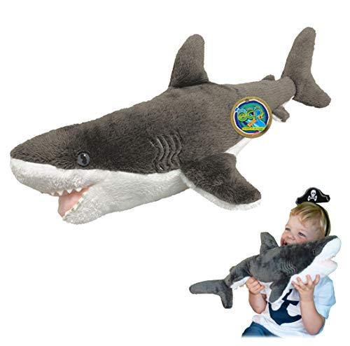 Juguete Suave del tiburón de EcoBuddiez Great White, Grande (los 56cm) - Juguete Suave y mimoso de la Felpa de Deluxebase. Hecho de Las Botellas plásticas recicladas. Regalo mimoso n