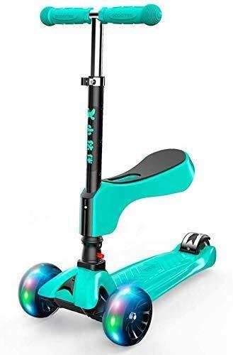 HLR Kickscooter Bars step voor volwassenen, scooter wielen, Kick 2-in-1 kick for Boys/Girls, Teens 3-wiel verstelbaar stuur, flashing met zitting, stuntstep