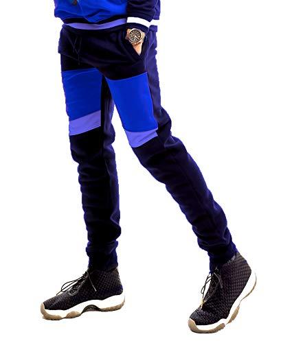 SCREENSHOT SPORTS-P11975 Mens Premium Hip Hop Fashion Pockets Fleece Pants - Athletic Jogger Color Block Fitness Utility Sweatpants-Navy-Medium