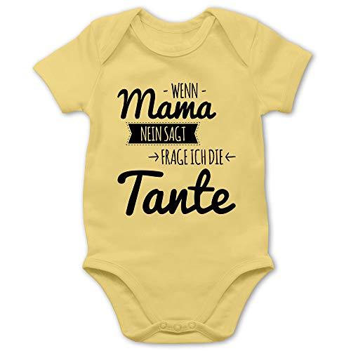 Sprüche Baby - Wenn Mama Nein SAGT frag ich die Tante - 3/6 Monate - Hellgelb - Tshirt Tante - BZ10 - Baby Body Kurzarm für Jungen und Mädchen