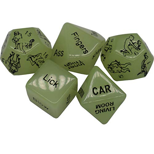 AlevRam Sex Dice Games for Couples,5 Pcs Glowing Dice Romantic Dice Game Gifts for Couples Dice, Wedding Gifts for Couple, Couple Bedroom Game