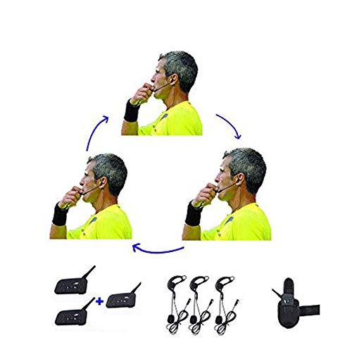 Maxquall Soccer Ref-Comm Headset mit 3 Schiedsrichtern sprechen zur gleichen Zeit Fußball Schiedsrichter Richter Arbitration Walkie Talkie Fußball Trainer Schiedsrichter Headset