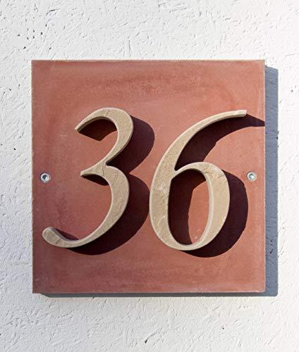 Die individuelle Sandstein-Hausnummer mit Musterbox - 2-stellig