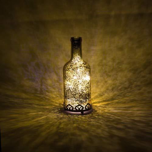 Home&Decorations Lanterne LED Dorée en Verre Décoratif en Forme de Bouteille - Bougie chauffe-plat pour Marriage, Anniversaire, Fête, Dîner - Bougeoir Couleur Or 21,5 cm de Hauteur