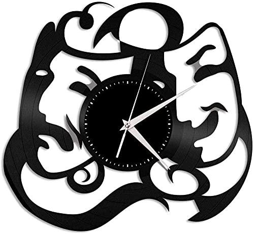 ZZLLL Máscara de Teatro Vinilo Arte de la Pared Reloj decoración de Registro Mujer decoración Retro Arte de la Pared decoración del hogar Vintage Cocina