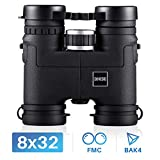 BNISE Binoculars for Bird Watching and Hunting, 8X32 Compact and Lightweight Magnesium Alloy Body, with FMC Optics and BaK4 Prisms - Black