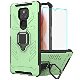 Moto G Play Case, Moto G Play 2021 Cases with HD Screen Protector, Yiakeng Military Grade Protection Shockproof Cover Case with Ring Kickstand for Moto G Play 2021 (Light Green)