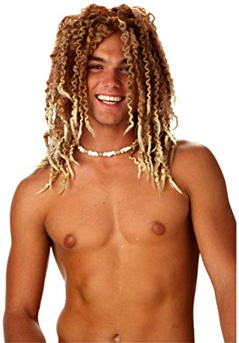 Mens Beach Bum Surfer Pruik Dude Blonde Dreadlocks Volwassenen Kostuum Accessoire