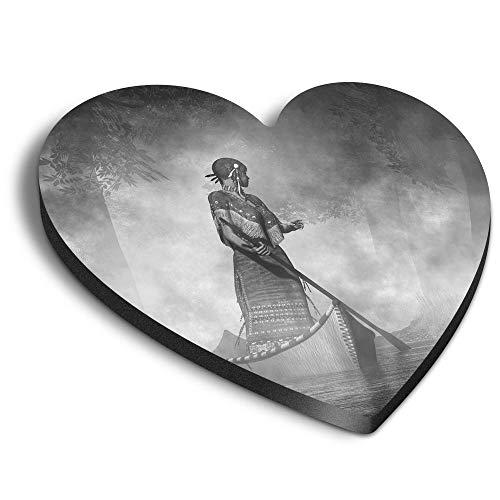 Destination Vinyl ltd Aimants en MDF en forme de cœur – BW – Native American Navajo Woman pour bureau, armoire et tableau blanc, autocollants magnétiques, 43270