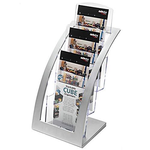 Lwieui Prospekthalter Ausstellungsstand Einzelseitenrahmen 3 Schicht-Desktop Daten Shelf Katalog 3 Klappen Broschüre for Empfangsbereiche Warteräume Schulen Katalog & Nachschlagewerke Racks