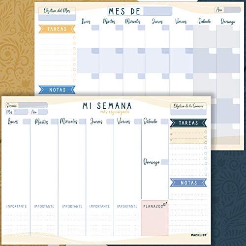 PACKLIST Planificador Semanal + Planificador Mensual - Pack de 2 planners Organizador Semanal + Mensual A4, Planning de Escritorio. Agendas, Planificadores y Calendarios Mes+Semana de Diseño E