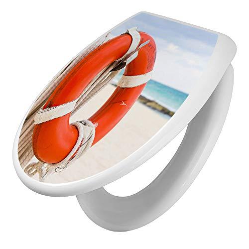 banjado Toilettendeckel mit Absenkautomatik   WC Sitz 44cm x 5cm x 37cm   Klodeckel weiß   Klobrille mit Edelstahl Scharnieren   Toilettensitz mit Motiv Roter Rettungsring
