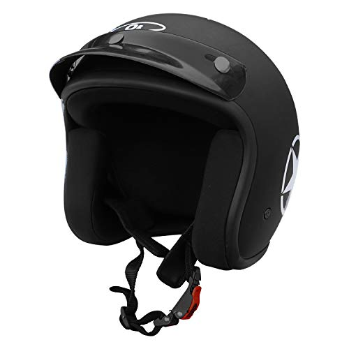 O2 Riderswear Open Face Star Helmet,(Black,M)