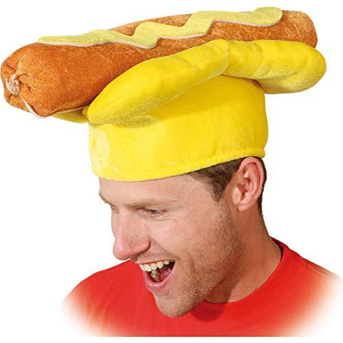 NET TOYS Witziger Hot-Dog-Hut für Erwachsene - KW 60 - Originelle Unisex-Kopfbedeckung Würstchen Faschingshut Fast Food - Perfekt geeignet für Straßenkarneval & Mottoparty