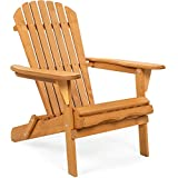 Best Choice Products Folding Wooden Adirondack Lounger Chair...