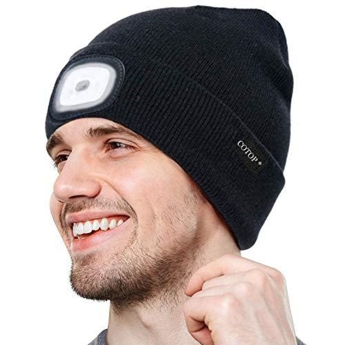 Cappello Berretto Uomo Illuminato 4 LED regalo Uomo regalo papà di Natale, 2 Pezzi di Luce Uso Alternativo Uomo Donna Cappello con Luce LED Invernali Berretto 3 Livelli di luminosit
