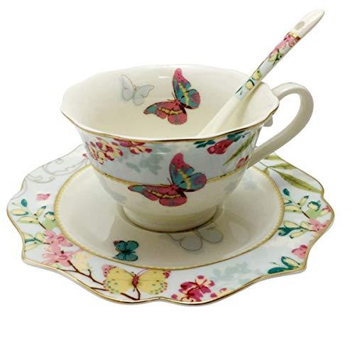 Krysclove Vintage Bone China Teacup with Lid Spoon and Saucer Set, Delicate Royal Bone China Coffee Mug Ceramic Tea Cups (Blue)