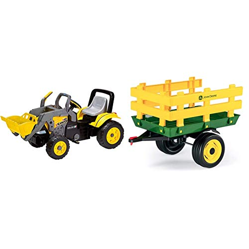 Peg Perego - Maxy Excavator & Perego Rimorchio A 2 Ruote, John Deere Stake-Side Trailer