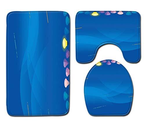 Badmatdeken 3-Delige Set Stijlvolle Blauwe Print Toiletbril Cover Badmat Deksel Cover Badmat Family Home Decor