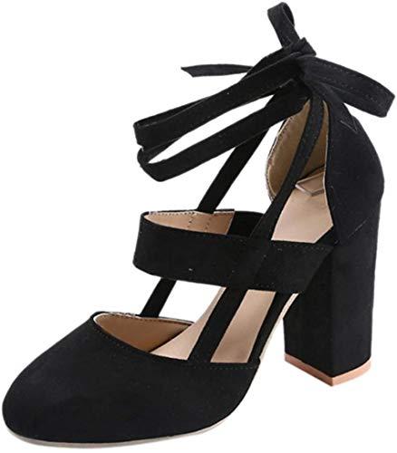 Minetom Damen Einfache Knöchel Riemchen Sandalen Schnüren Sich High Heels Party Chunky Pumps Stiefel Sandaletten Schwarz EU 41