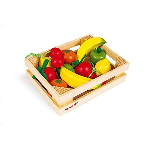 Janod - Cagette 12 Fruits en Bois - Accessoire Dinette, Cuisine et Marchande - Jouet d'Imitation - Dès 3 Ans, J05610