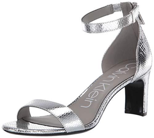 Calvin Klein Women's Heeled Sandal, Silver, 5.5 M