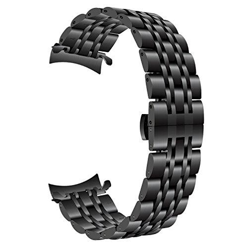 TRUMiRR para Gear S3 Correa de Reloj, 22mm Correa de Reloj de Acero Inoxidable Curvo End Strap Butterfly Hebilla Brazalete para Samsung Gear S3 Classic/Frontier, Moto 360 2 46mm Men, Vector Luna