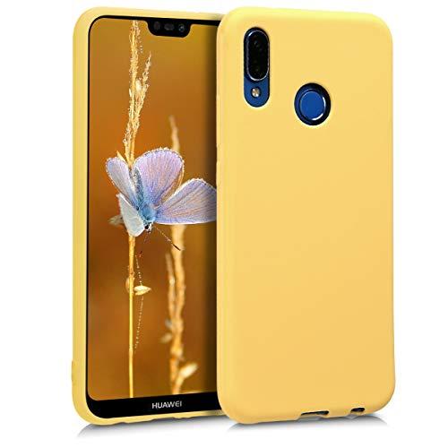 kwmobile Funda Compatible con Huawei P20 Lite - Carcasa de TPU Silicona - Protector Trasero en Amarillo Mate