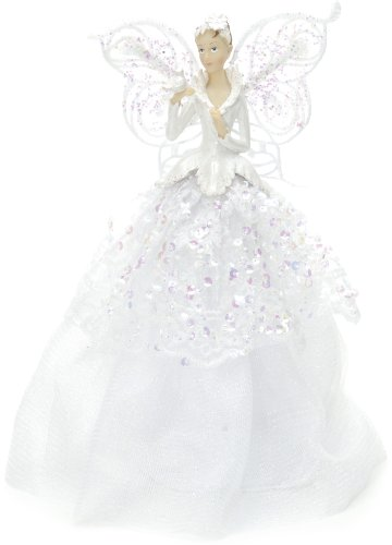 Festive Productions Puntale a Forma di Angelo in Tessuto, Bianco, 23,6x12x8,6 cm