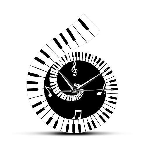 guijinpeng Reloj de Pared Hoja de música en Blanco y Negro Reloj de Pared dercorativo Signo de Clave de Sol con Teclado de Piano Nota Musical Reloj de Pared Regalo de Amante de la música