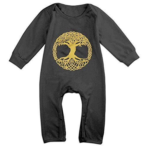 Yggdrasil Tree Norse Mythology Long Sleeve Baby Coverall Infant Romper Jumpsuit Black