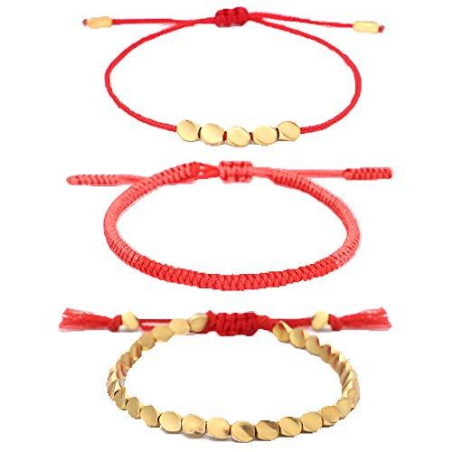 AUGUT 3 pulseras tibetanas hechas a mano budista con cuentas de algodón y cobre de la suerte para mujeres y hombres