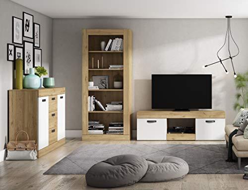 Miroytengo Muebles salón Estilo Moderno Argos Color Blanco Mate y Naturale (Mesa TV + aparador + estantería)