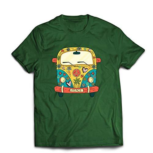 lepni.me Männer T-Shirt 60er Jahre 70er Jahre Hippie-Van, Blumen, Liebe, Symbol für Friedensfreiheit (XX-Large Dunkelgrün Mehrfarben)