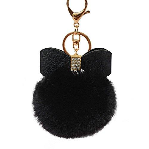 Gemini_mall Keychain, Fluffy Faux Rabbit Fur Ball Bowknot Charm Keyring Hanging Bag Handbag Car Key Chain Plush Pendant Ornament (Black)