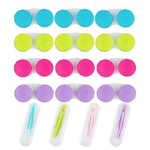 YuCool Kontaktlinsenbehälter, bunt, 12 Stück, Set mit 4 tragbaren Stick-Werkzeugkoffern (Einsatz + Pinzette mit weicher Spitze), Grün, Pink, Blau und Violett