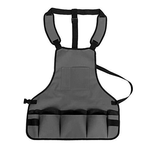 Infilm Robuste Gartenwerkzeug-Schürze mit 15 Taschen, schützende wasserdichte Arbeitsschürze voll verstellbar mit Kreuzgurten zum Geschirrspülen, Reinigen, Malen, Gärtner grau