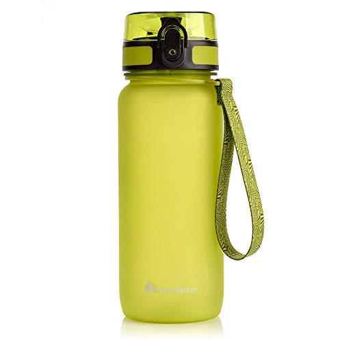 Botella Agua sin BPA Tritan Plastico Water Bottle Reutilizable para Niños Juventud y Adultos Ideal para Deportes Oficina Escuela Gimnasio Ciclismo Correr Picnic Varios Tamaños y Colores (500ml, Verde)