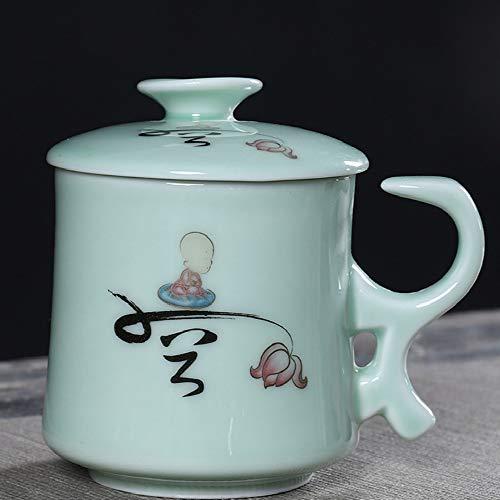 donfhfey827 Celadon Office Cup Cerámica Separación de té Hogar con asa Taza de Filtro con Tapa Taza de té Personal