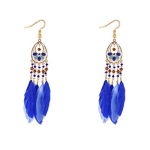 Nuevos pendientes de borla de plumas con cuentas hechos a mano Pendientes largos exóticos-Azul real 128051