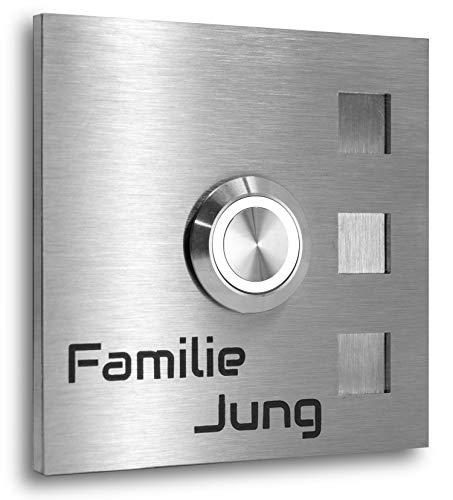 Jung Edelstahl Design® Türklingel Edelstahl 7 X 7 cm Köln Led Taster Lasergravur Klingelplatte Klingel (LED weiss)
