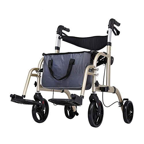 SED Trolley Auxiliar Sillas de Ruedas Trolley de Aluminio Cochecito Walker Plegable con Bolsa de Almacenamiento Asistencia para Caminar Carros de Utilidad,Gris