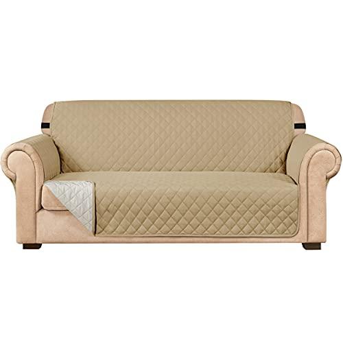 subrtex Funda de sofá Reversible Acolchada para 1,2,3 plazas Funda de Silla para Mascotas y niños con Correas Elásticas Protector de Muebles (3 Plazas, Beige)