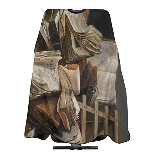 Professional Barber Cape Books Art Oil Painting Salon Haircut Aprons Hair Styling Gown For Coloring Perming Hair Cutting Treatment Shampoo Chemical Proof Hairdresser 55