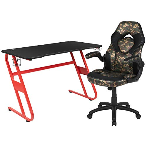 Flash Furniture Gaming Bundle - Desk, Chair, Camouflage/Red